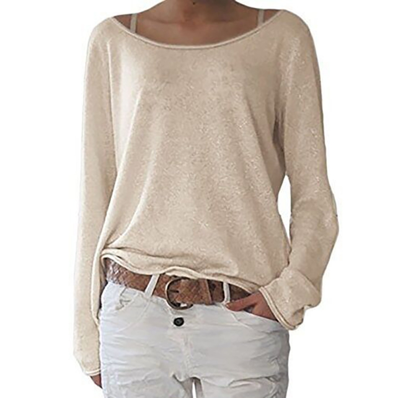 Fashion Women Oversized Loose Long Sleeve T-Shirt Baggy Plus Tops Casual Solid T Shirt