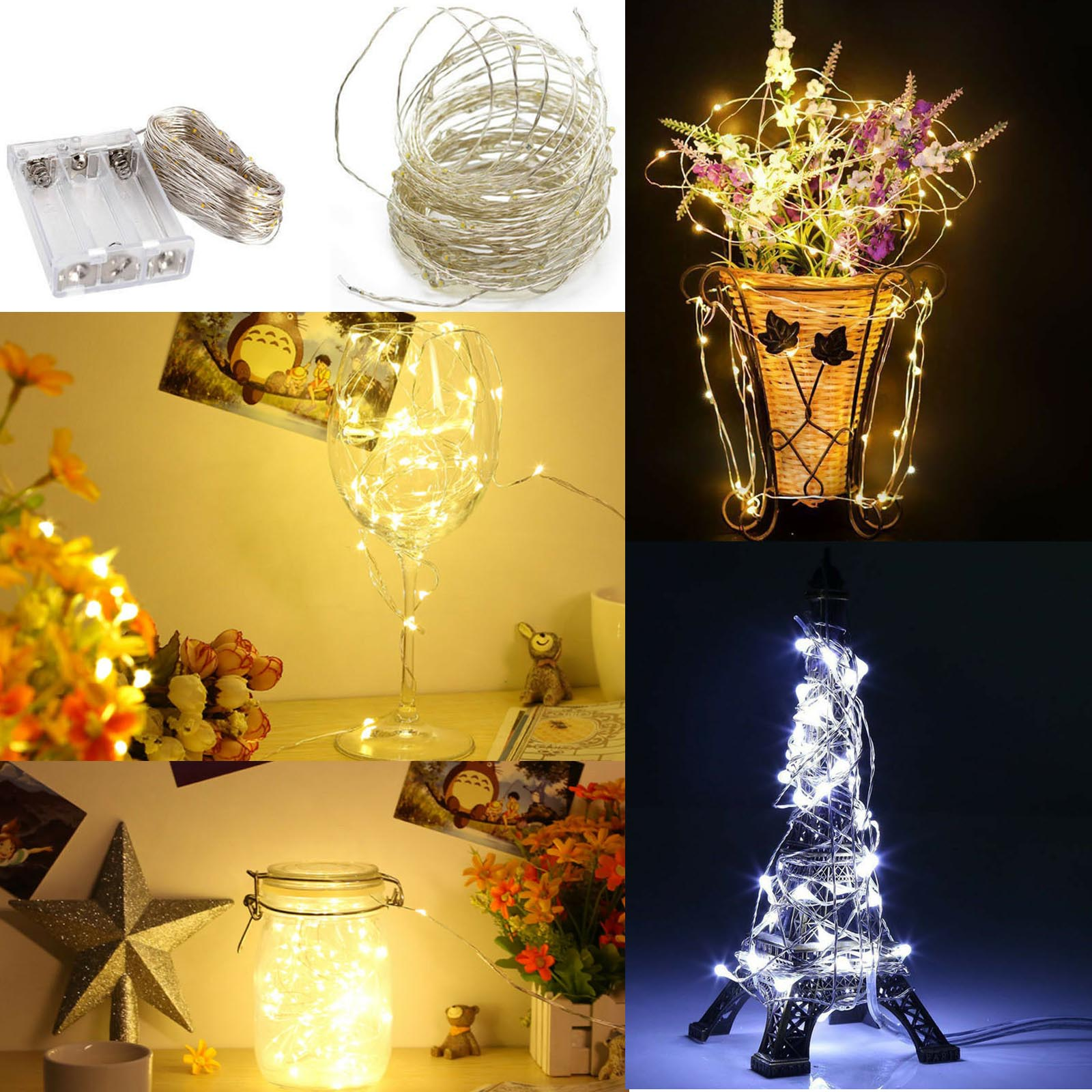 LED String Lights  1M 5M 10 50LEDS Sliver Cooper Wire Garland Home Xmas Wedding Party Decor Powered By 3*AA Battery Fairy Light