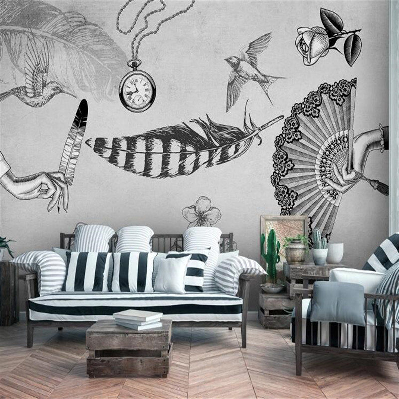Large 3D Wallpaper Mural Custom Nordic Modern Retro Medieval Feather Bird Background Wallpaper Mural