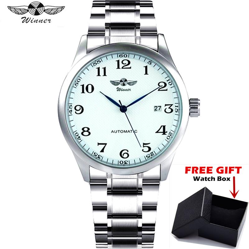 WINNER Brand Business Automatic Mechanical Watch Men Stainless Steel Blue Hands Calendar Wristwatch