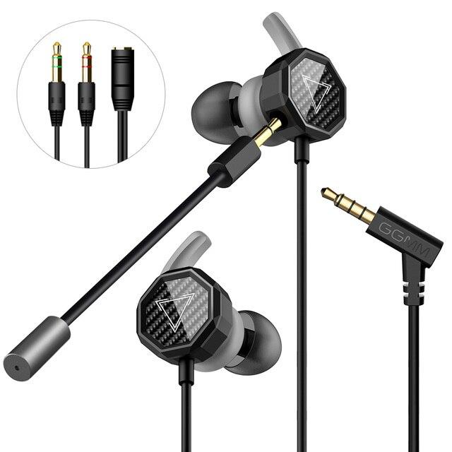 GGMM G1 Earphone Deep Bass Gaming Earphone With Detachable Long Mic Gaming Earphones Clear Sound For PUBG Mobile Phone PC Gamer