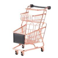 Mini carrinho de compras de duas camadas crianças simulação jogar brinquedo carrinho de supermercado carrinho de armazenamento carrinho de carrinho de carrinho de ouro rosa organizador rack