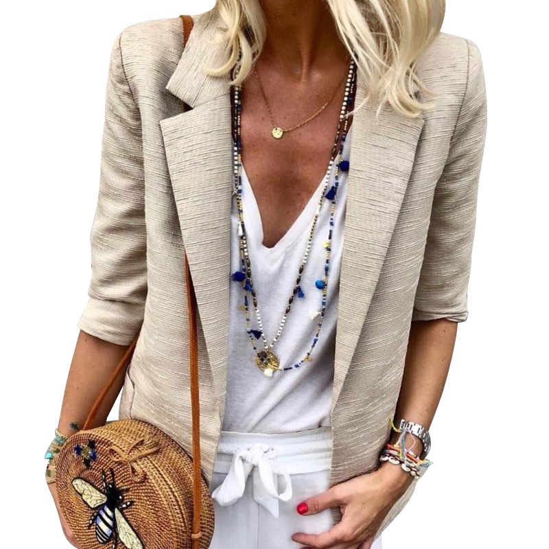 Echoine women's jacket Fashion versatile high-end cotton linen female blazer autumn Print office lady jackets tweed coat