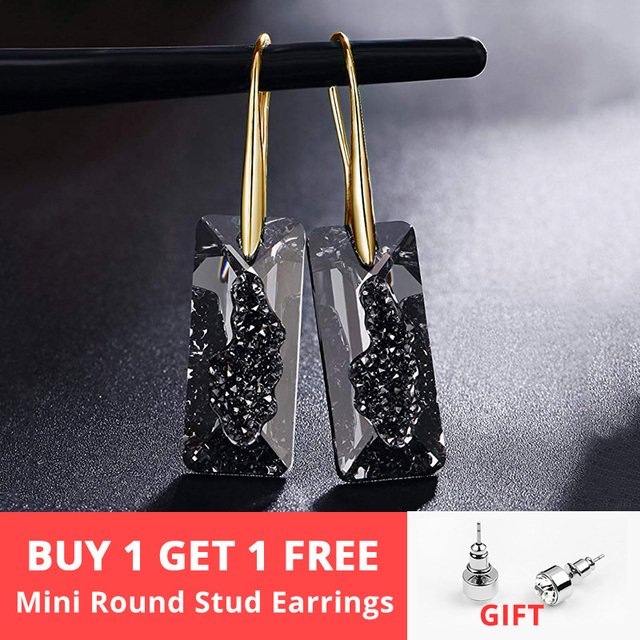 Black Crystals From Swarovski Elements Gold Color Drop Earrings For Women Party Vintage Rectangle Pendant Statement Jewelry Gift