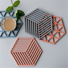 Concrete Flowerpot Cup Mat Wad Coaster Mold Hexagon Pot Tray Mould for Plaster
