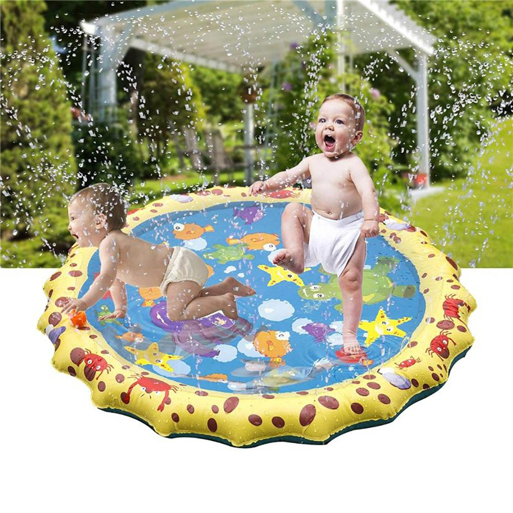 Colorful Round Cartoon Animal Outdoor Summer Inflatable Water Spraying Pad Mat For Tub Swimming Pool Gentle Water Spray Gifts