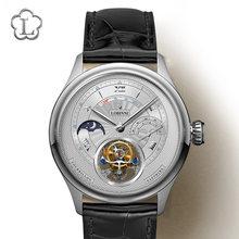 LOBINNI – montre-bracelet à Tourbillon pour hommes, modèle Moonphase de luxe, automatique, mécanique, saphir, avec cadran de réserve de puissance
