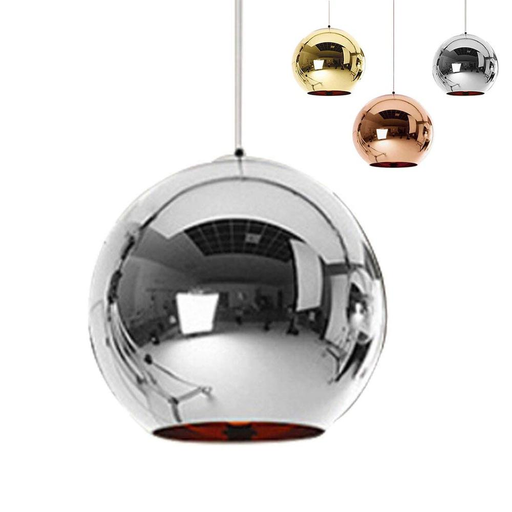 Updated Kitchen Island Pendant Light Modern Mirror Glass Ball Pendant Lamp Loft Hall Decoration Suspension Gold Silver Lighting