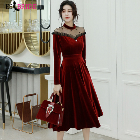 Red Sexy Evening Dresses Women Vintage Long 2019 New Elegant A-Line Evening Dress Formal High-Neck Evening Gown Dress ES1304 Lahore