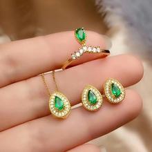 купить SHILOVEM 925 sterling silver Natural Emerald classic fine Jewelry  women wedding  wholesale new gift ctz0305911agml дешево