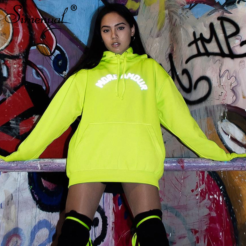 Simenual Neon Reflective Letter Print Fashion Hoodies Women 2019 Autumn Winter Long Sleeve Sweatshirt Casual Pocket Basic Hoody