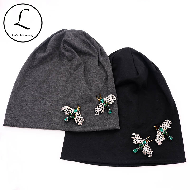 GZhilovingL 2020 New Spring Women Bug Appliques Slouch Beanies Hats Thin Soft Cotton Skullies Hat And Caps Ladies Winter Hats