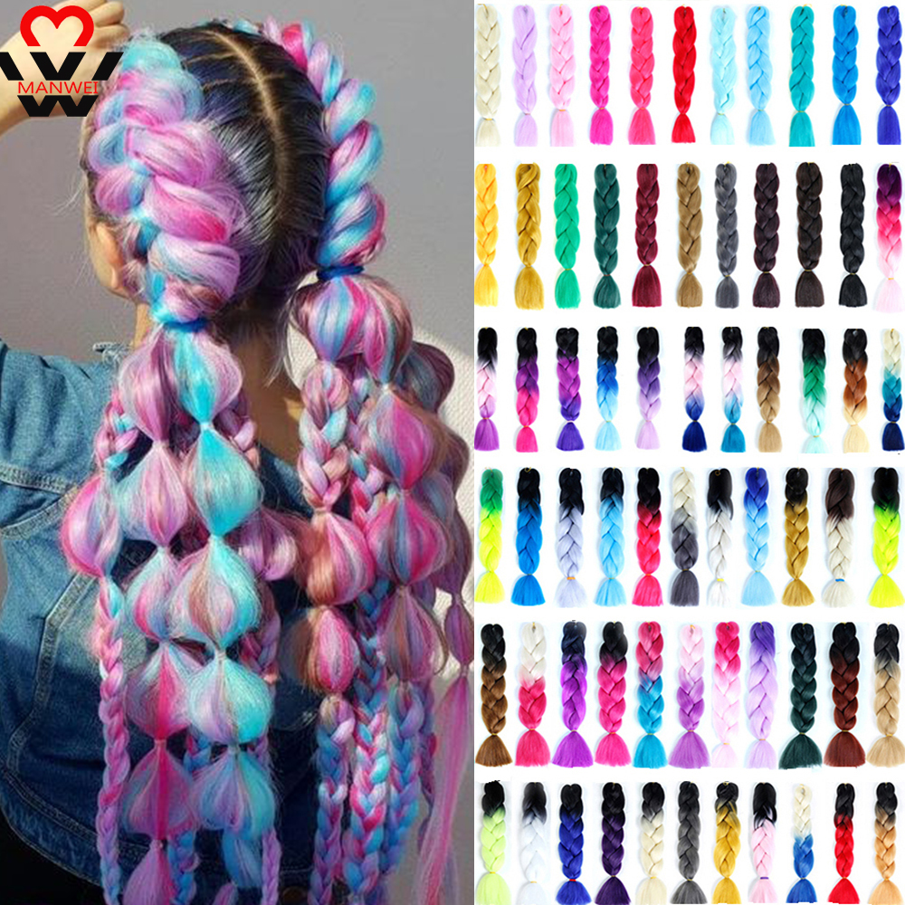 MANWEI 1 Piece 24''  Braiding Hair Synthetic Jumbo Braids 100g Crochet Ombre Color High Temperature Fiber Hair Extensions