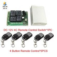 433mhz universal sem fio interruptor de controle remoto dc 12v 4ch relé módulo receptor rf 4 botão controle remoto abridor da porta garagem
