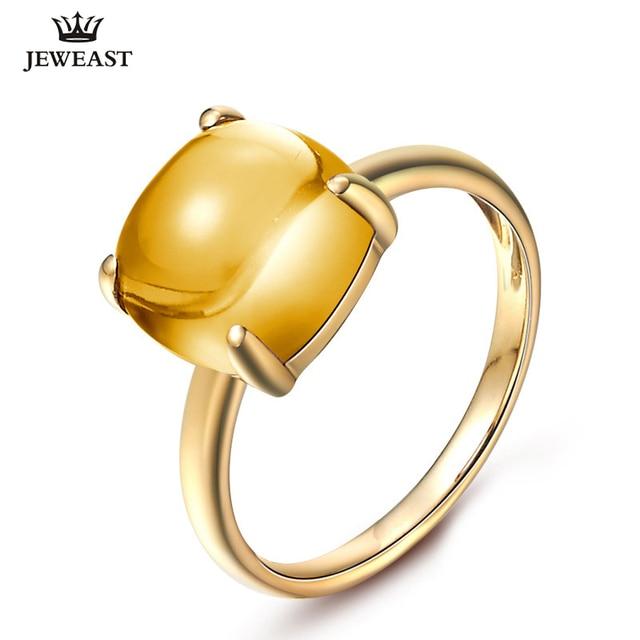 LSZB anillo de oro puro de 18K con citrino Natural para mujer, sortija con forma de corazón, superventas, 2020