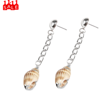 Shell stainless steel long chain earrings Personality Long Multicolor Natural Conch Metal Earrings Ladies Jewelry Gift 2020 #ZC(China)