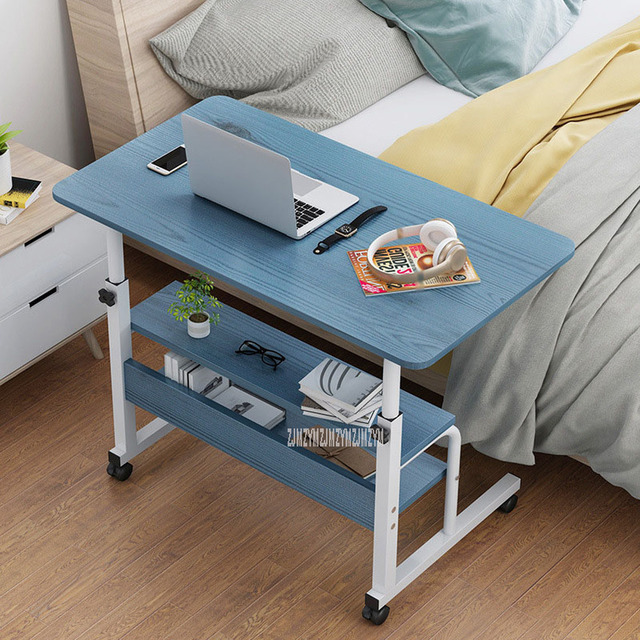 New Bedside Lifting Computer Laptop Table Movable Height Adjustable Wood+Steel Frame Modern Simple Laptop Table Stand Desk 4