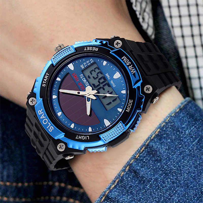 Masculino marca superior de luxo relógio digital sports men men sports masculino esportes energia solar dupla tempo resistente à prova dwaterproof água relógio digital reloj montre homme