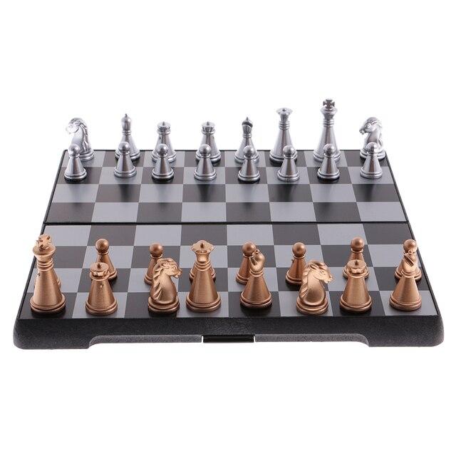 Jeu d'échecs de voyage portatif bronze argent 3