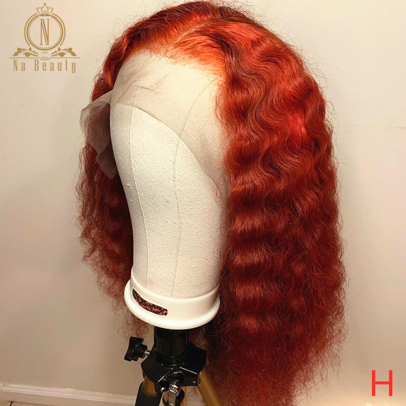 Orange Red Human Hair Wig Colored Lace Front Wigs 360 Lace Frontal Wig Full Lace Wigs Deep Wave Pre Plucked Nabeauty 150 Remy
