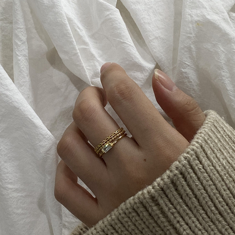 Silvology 925 Sterling Silver Double Layer Square 4A Zircon Rings Elegant Nordic Style Rings For Women Simple 925 Luxury Jewelry