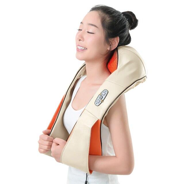 KLASVSA 12 Massage Heads Sưởi Ấm Cổ Vai Nhào Massager Cổ Tử Cung Điều Trị Chăm Sóc Sức Khỏe Lại Eo Pain Relief Thư Giãn