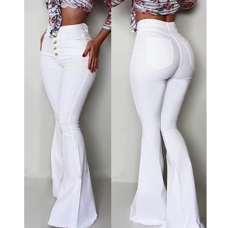 2019 Fashion Button High Waist Bell-Bottom   Pants   Women Solid Slim White Flare   Pants   Summer Elegant Work Wear