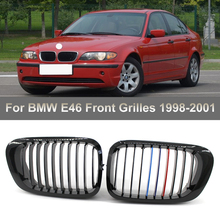 1 pair new design f90 m5 diamonds grille grill meteor style abs gloss black fits for bmw m5 look f90 front kidney grills 2019 in 1 Pair Gloss Black M Style Front Kidney Grill Grille for BMW 3 Series E46 1998 1999 2000 2001 4 Door 323 325 Auto Accessories