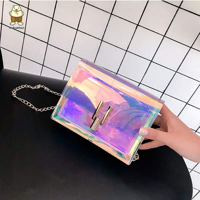 Beibaobao 2019 Laser Transparent Fashion Korean Style Shoulder Small Mini Square Messenger PVC  Waterproof  Beach Bags Woman