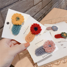 Korean Solid Wool Flower Cute Fall Winter Kids Children Girls BB Hairpins Hair clips Head wear Accessories-SWD-W5