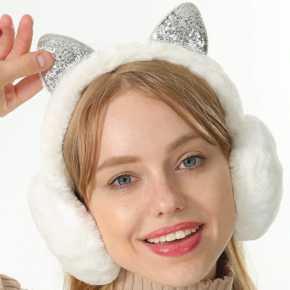 New Hot Women Earmuffs Cartoon Cat Ears Windproof Ears Warm Adjustable Earmuffs YAA99