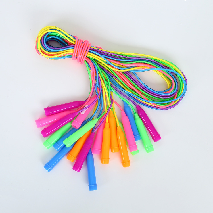 Color Plastic Children Jump Rope Single Handle Flash Jump Rope Primary Standard Sports Game Jump Rope