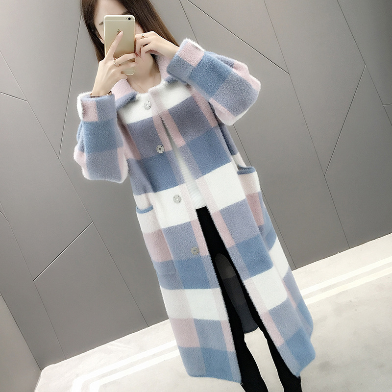 Women Long Knitted <font><b>Faux</b></font> <font><b>Mink</b></font> <font><b>Fur</b></font> <font><b>Coat</b></font> Plaid Cardigan Jacket image