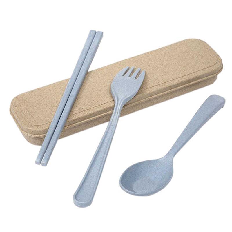 3 ピース/セット小麦カトラリーボックスわらポータブル旅行ディナーセットで学生のための Kithen 食器ダイニングアプライアンスセット