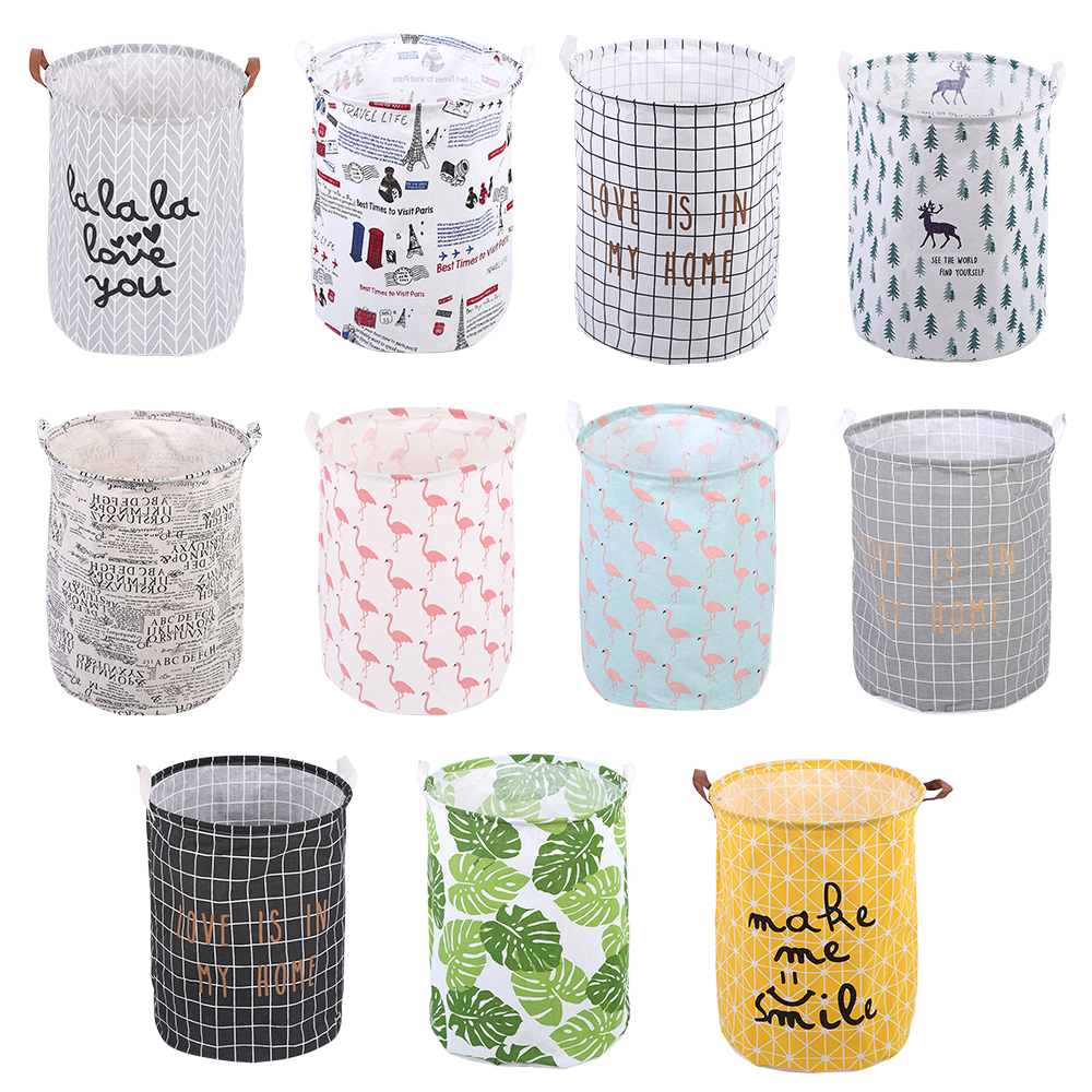 40x50cm Nordic Folding Laundry Basket Round Storage Bin Bag Large Hamper Collapsible Clothes Toy Holder Bucket Organizer