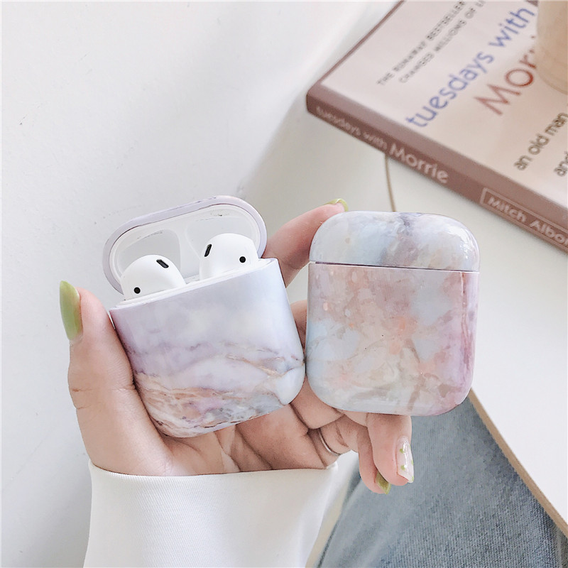 Marble Case Dust Guard Skin For Airpods 1 2 Hard Protective Wireless Earphone Charging Case Bag Accessories For Apple Air Pods in Earphone Accessories from Consumer Electronics