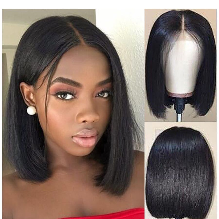 Bob Lace Front Wigs Brazilian Short Straight HD Transparent Invisible Undetectab Lace Front Human Hair Bob Wigs For Black Women