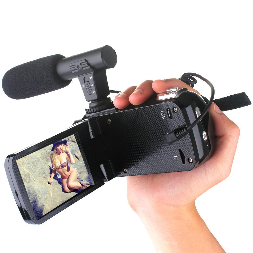 Профессиональная видеокамера 4K HD, камера ночного видения, 3,0 дюймов, сенсорный ЖК-экран, камера с 18x цифровым зумом, камера с микрофоном