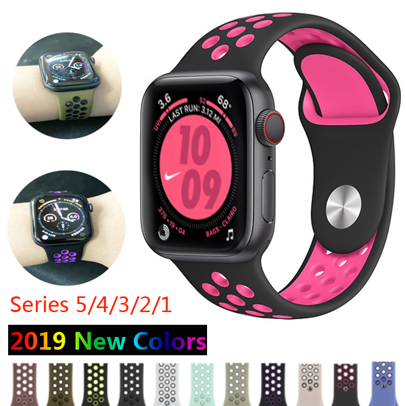 Silicone Strap For Apple Watch Band 4 5 3 42mm 38mm Correa Iwatch Bands 4 44mm 40mm Nike Sport Bracelet Apple Watch Accessories