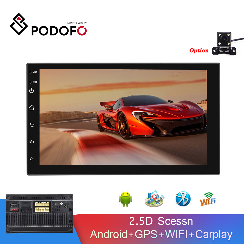 Podofo Android 2Din Car MP5 Multimedia Video Player Auto Stereo Carpaly GPS WIFI Bluetooth FM 7'' 2.5D Screen Audio Car Radio