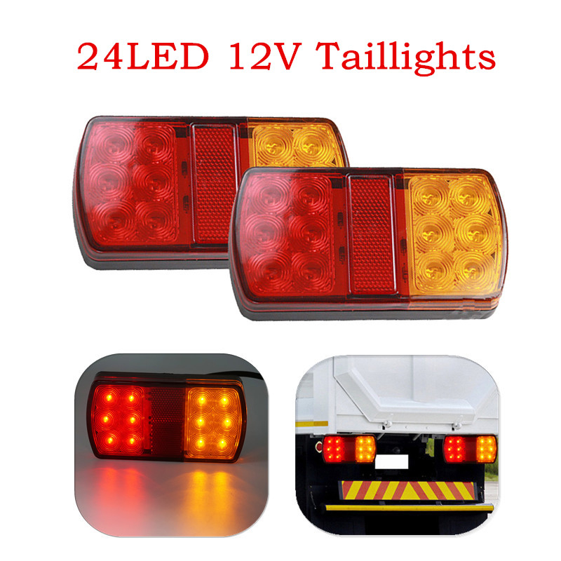 Pair Waterproof 24 LED 12V Taillights Trailer Truck Lorry Stop Rear Tail Light Auto Car Signal Lamp Caution Indicator Fog Light