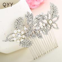 Qyy серебряный цвет кристалл свадебные аксессуары Стразы Цветок