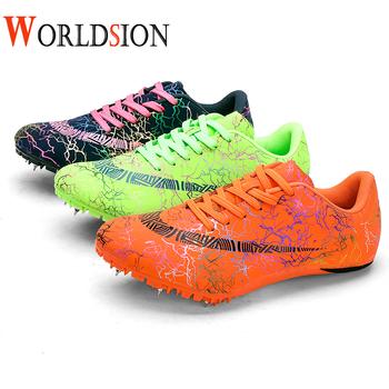 Nowe damskie profesjonalne buty lekkoatletyczne lekkie kolce do biegania buty do biegania damskie rozmiar 35-45 wyścigi skoki trampki tanie i dobre opinie Worldsion WOMEN Cotton Fabric Pcv podłogi Masaż Średnie (b m) Skręcanie Lace-up Spring2019 Pasuje prawda na wymiar weź swój normalny rozmiar