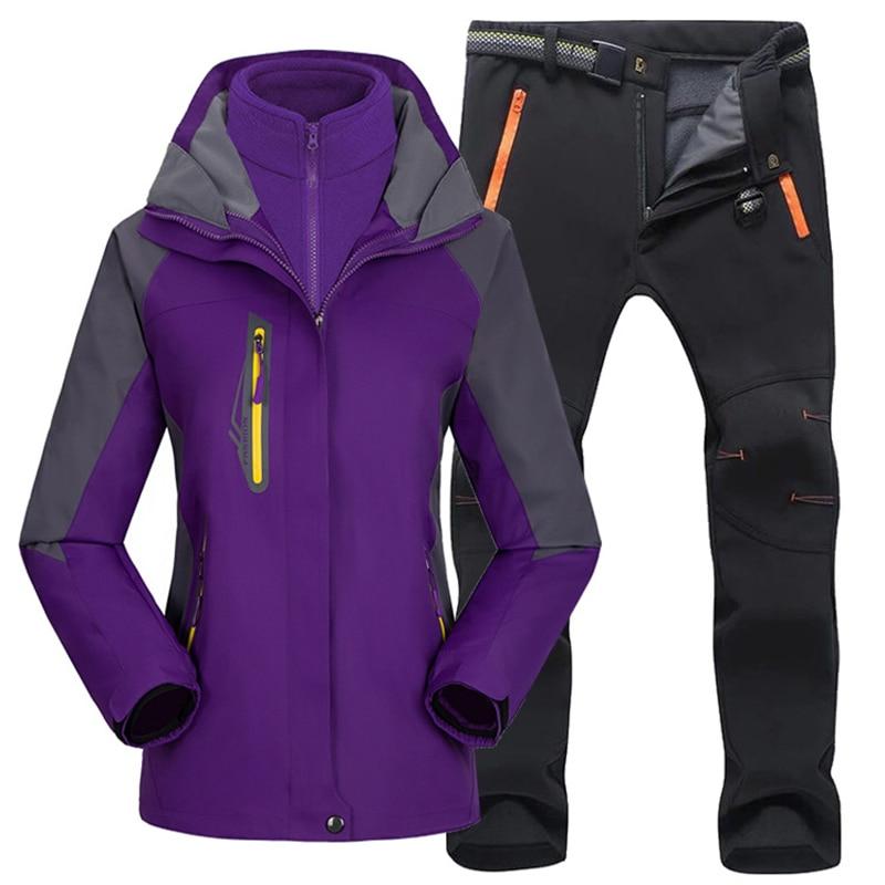 Women Outdoor Ski Suit Set Winter Hiking Skiing Waterproof Jackets Fleece Warm Fishing Trekking Ski Jacket +Pant Multicolor