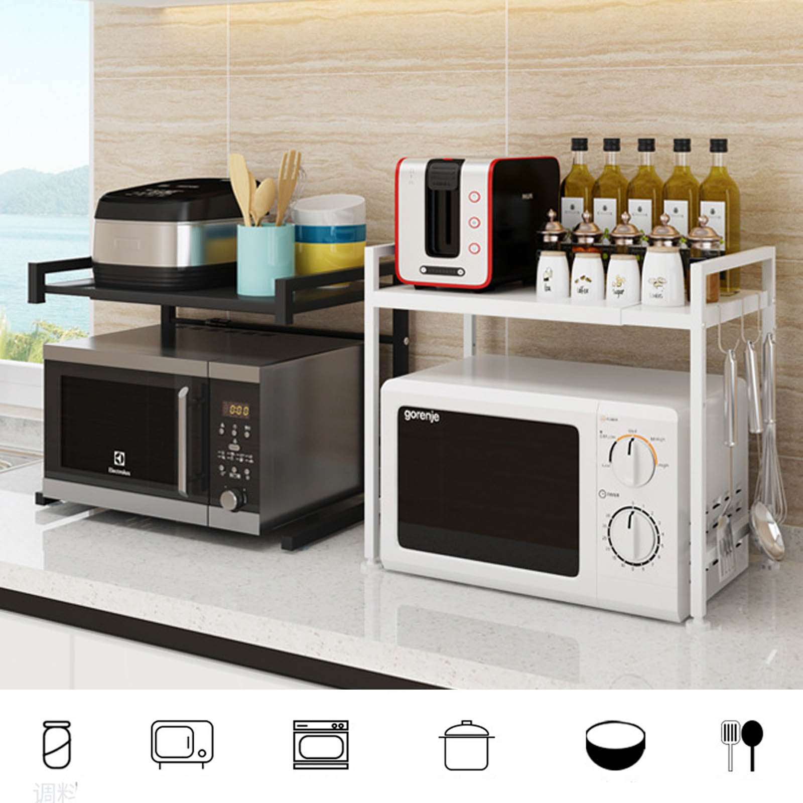 2 tier kitchen shelf microwave oven rack stand spice expandable storage cabinet black white ru uk au fast shipping