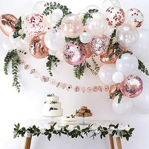 DIY Rose Gold Balloons Garland Kit 60pcs Latex Confetti Foil Balloons Arch Garland for Birthday Wedding Parting Venue Decoration