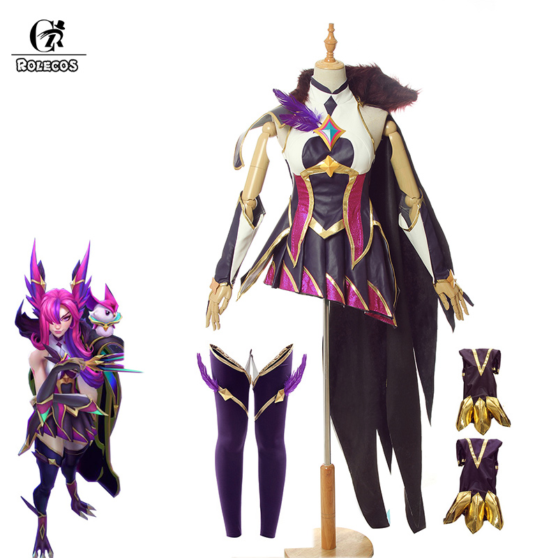 ROLECOS Game LOL Xayah Cosplay Costume LOL Star Guardian Xayah Cosplay Costume Purple Sexy Dress Women Uniform Shoes Cover Cloak