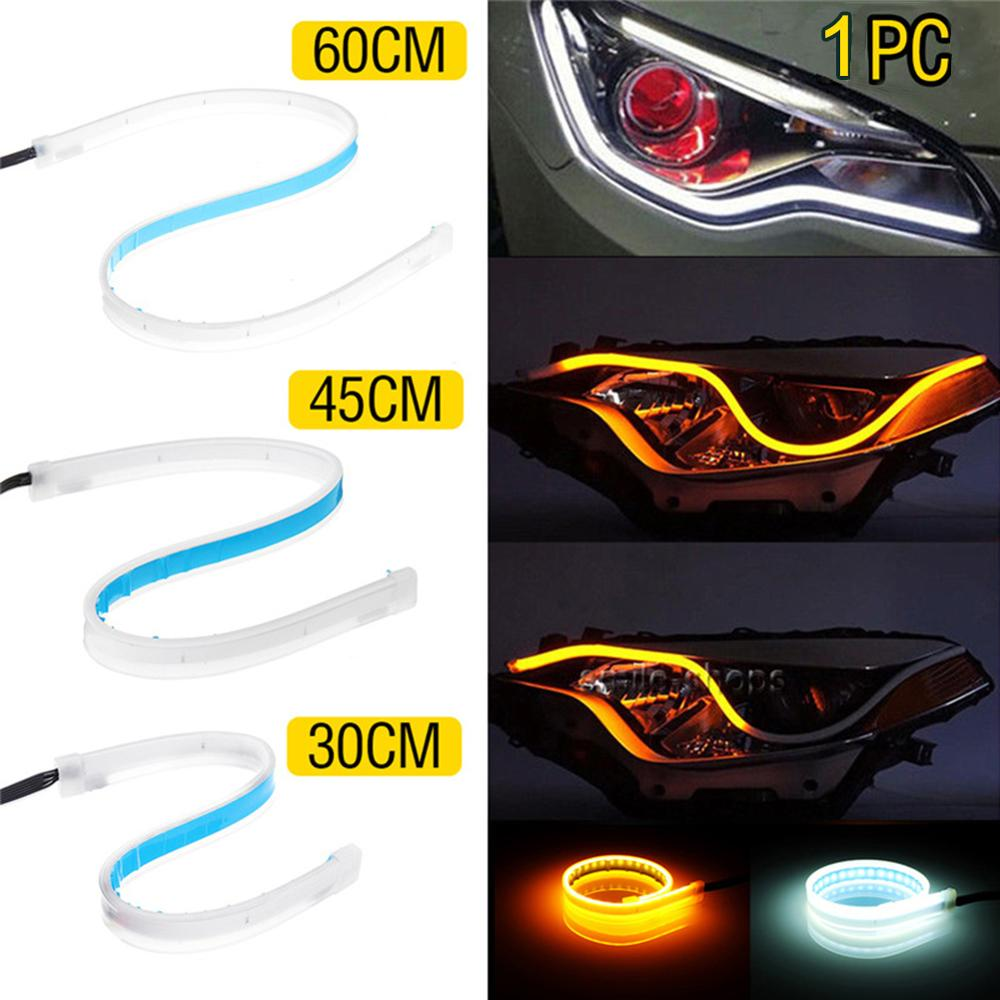 3-in-1 Car Accessories Day Time Running Strip LED Turning Signal Universal Soft Tube Headlight Strip Wholesale CSV