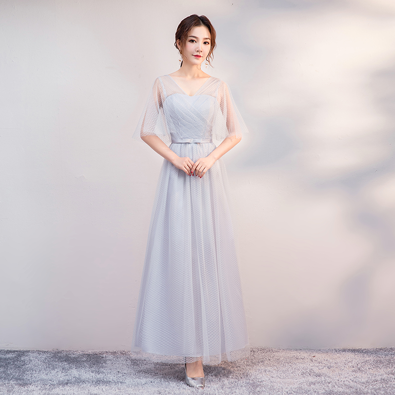 Plus Size Tulle Elegant Dress Women For Wedding Party V-neck Bridesmaid Dress A-Line Sexy Club Prom Dress Simple Vestidos Mujer