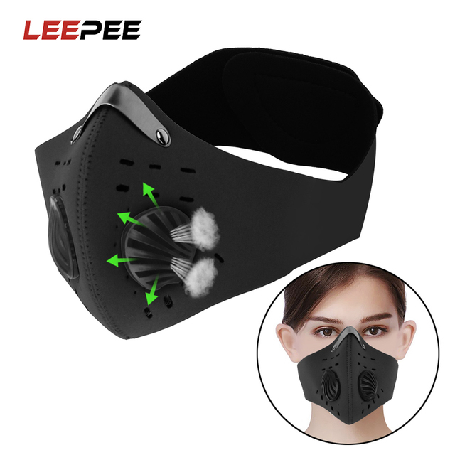 LEEPEE Cycling Mask With Filter Activated Carbon Anti-Pollution Masks Breathing Valve Protective Cycling Mask